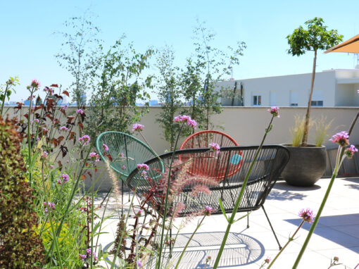 Arranging a terrace with flowerbeds in residential complex